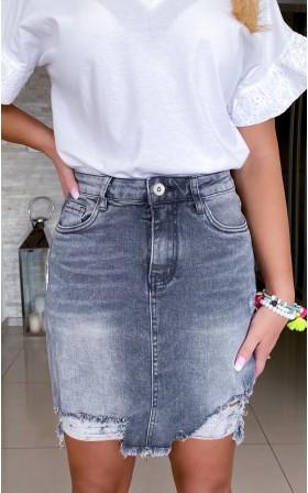 163*szara jeansowa spódnica...