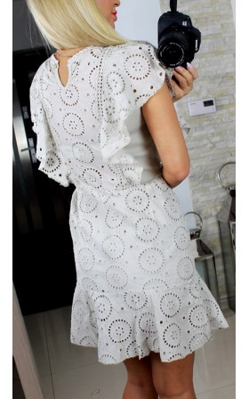 cba6f0eb15 ITALY LUX  BEŻOWA cudna koronkowa sukienka   XS S M