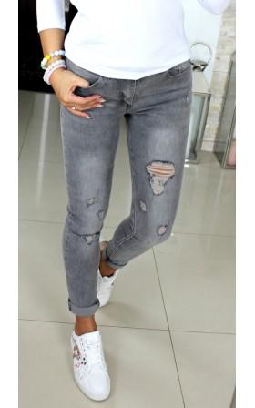 SZARE PRZECIERANE jeansy z...